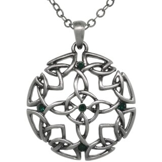 Pewter Green Crystal Rhinestone Celtic Circle Of Life Medallion Necklace