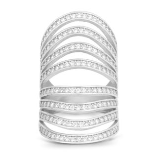 La Preciosa Sterling Silver Channel-set Cubic Zirconia Multi-row Wide-band Ring