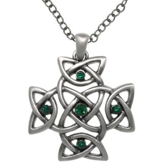Pewter Green Cyrstal Celtic Cross Pendant Chain Necklace
