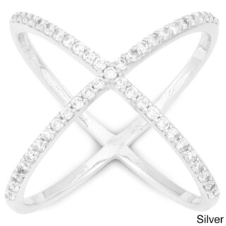 La Preciosa Sterling Silver Cubic Zirconia Wide X Ring (More options available)