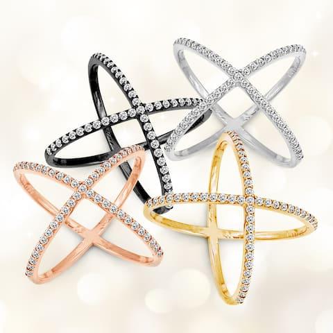 La Preciosa Sterling Silver Cubic Zirconia Wide X Ring