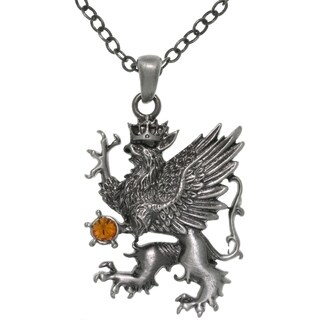 Pewter Crystal Griffin King Pendant Chain Necklace