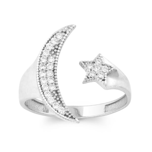 La Preciosa Sterling Silver Cubic Zirconia Star and Moon Adjustable Ring