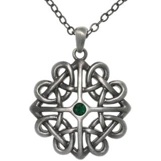 Pewter Crystal Rhinestone Celtic Heart Knot Pendant Necklace