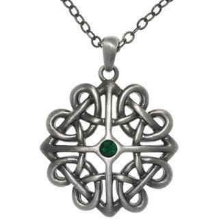 Pewter Crystal Rhinestone Celtic Heart Knot Pendant Necklace