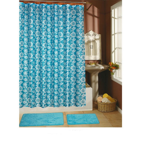 Sweet Grass Collection 15-piece Shower Curtain with Hooks and Bath Rug Set