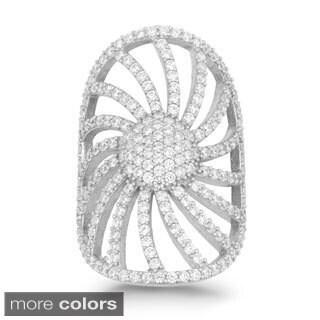 La Preciosa Sterling Silver Cubic Zirconia Wide Swirl Cluster Ring