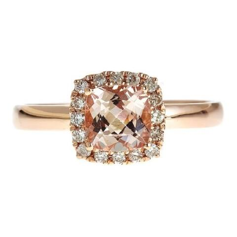 Anika and August 14k Rose Gold Square Cushion-cut Morganite and 1/6ct TDW Diamond Ring (G-H, I1-I2)