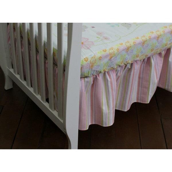 Nurture Imagination Pink Striped Dust Ruffle