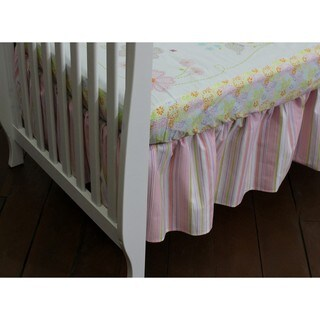 Nurture Imagination Pink Striped Dust Ruffle