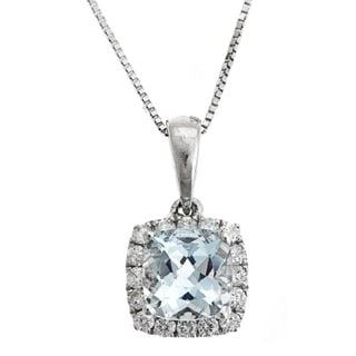 Anika and August 14k White Gold Square Cushion-cut Brazilian Aquamarine and 1/5ct TDW Diamond Pendant (G-H, I1
