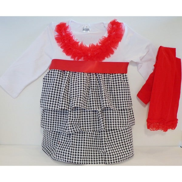 Girls Classic Houndtooth and Red Lace 2-piece Dress Set