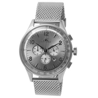 Adee Kaye Men's Mondo G-3 Collection Silvertone/ Black Chronograph Watch