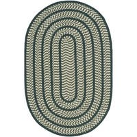 Safavieh Hand-woven Reversible Braided Ivory/ Dark Green Rug - 5' x 8' Oval