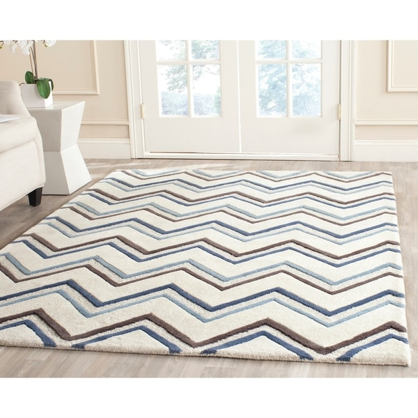 Safavieh Handmade Moroccan Cambridge Ivory/ Blue Wool Rug - 8' x 10'