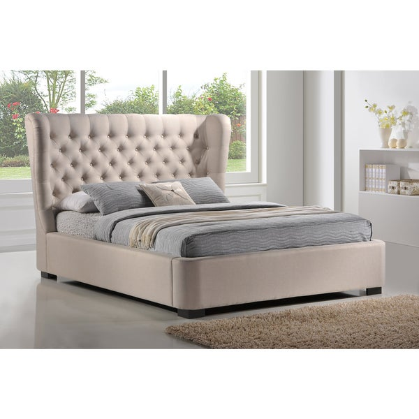 luxeo manchester tufted wing palazzo mist fabric upholstered platform bed