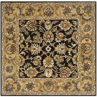 Safavieh Handmade Classic Black/ Gold Wool Rug (6' Square)