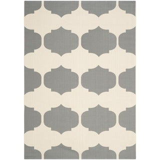 Safavieh Indoor/ Outdoor Courtyard Beige/ Anthracite Rug (9' x 12')