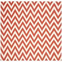 Safavieh Hand-woven Chevron Reversible Dhurries Red/ Ivory Wool Rug - 6' Square