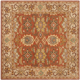 Safavieh Handmade Heritage Timeless Traditional Rust/ Beige Wool Rug (6' Square)