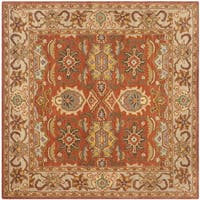 Safavieh Handmade Heritage Timeless Traditional Rust/ Beige Wool Rug - 6' Square