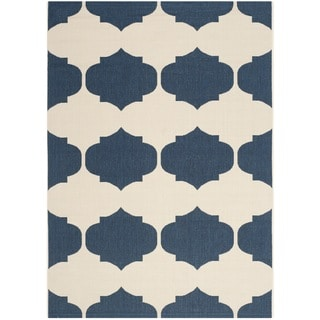 Safavieh Courtyard Poolside Beige/ Navy Indoor/ Outdoor Rug (9' x 12')