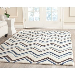 Safavieh Handmade Moroccan Cambridge Ivory/ Blue Wool Rug (6' x 9')