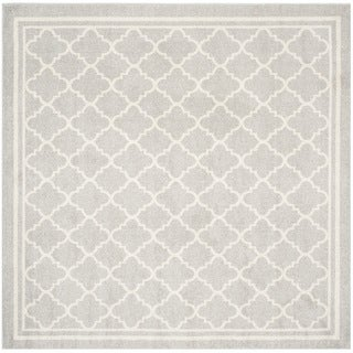 Safavieh Indoor/ Outdoor Amherst Light Grey/ Beige Rug (7' Square)