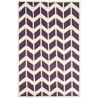 Safavieh Handmade Moroccan Chatham Purple/ Ivory Wool Rug (6' x 9')