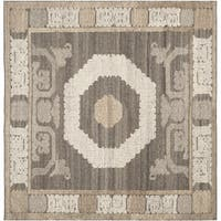 Safavieh Handmade Kenya Ivory/ Brown Wool Rug - 7' x 7' Square