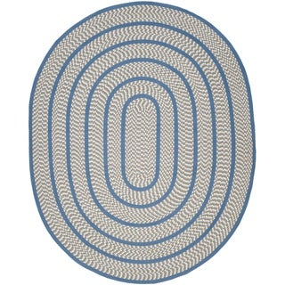 Safavieh Hand-woven Reversible Braided Ivory/ Blue Rug (8' x 10' Oval)