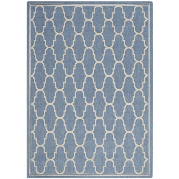 Safavieh Courtyard Trellis Blue/ Beige Indoor/ Outdoor Rug - 9' x 12'6
