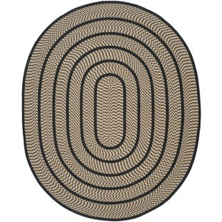 Safavieh Hand-woven Reversible Braided Beige/ Black Rug (8' x 10' Oval)