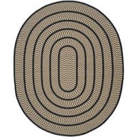 Safavieh Hand-woven Reversible Braided Beige/ Black Rug - 8' x 10' Oval