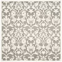 Safavieh Indoor/ Outdoor Amherst Dark Grey/ Beige Rug - 7' x 7' Square