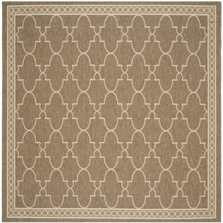 Safavieh Courtyard Trellis All-Weather Dark Beige/ Beige Indoor/ Outdoor Rug (7'10 Square)