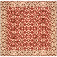 Safavieh Courtyard Elegance Red/ Cream Indoor/ Outdoor Rug (7'10 Square)
