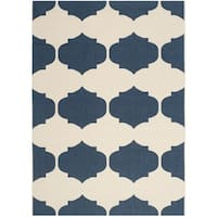 Safavieh Courtyard Poolside Beige/ Navy Indoor/ Outdoor Rug - 8' x 11'