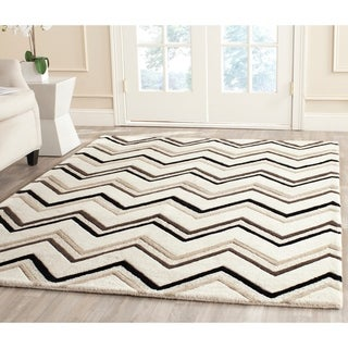 Safavieh Handmade Moroccan Cambridge Ivory/ Black Wool Rug (9' x 12')
