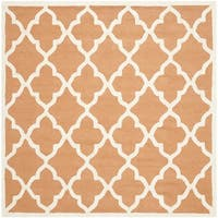 Safavieh Handmade Moroccan Cambridge Coral/ Ivory Wool Rug - 6' Square