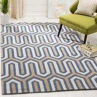 Safavieh Handmade Moroccan Cambridge Navy/ Grey Wool Rug - 6' Square