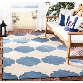 Safavieh Courtyard Poolside Beige/ Blue Indoor/ Outdoor Rug (9' x 12')