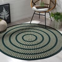 Safavieh Hand-woven Reversible Braided Ivory/ Dark Green Rug - 4' x 4' Round