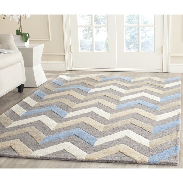 Safavieh Handmade Moroccan Cambridge Grey/ Ivory Wool Rug - 9' x 12'