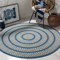 Safavieh Hand-woven Reversible Braided Ivory/ Blue Rug - 6' Round