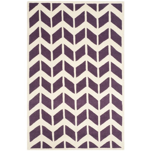 Safavieh Handmade Moroccan Chatham Purple/ Ivory Wool Rug - 8' x 10'