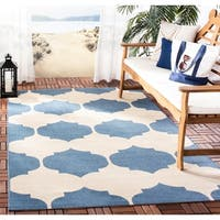 Safavieh Courtyard Poolside Beige/ Blue Indoor/ Outdoor Rug - 8' x 11'