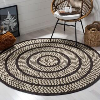 Safavieh Hand-woven Reversible Braided Ivory/ Dark Brown Rug (6' Round)
