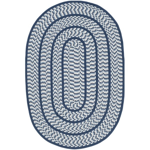 Used Oval Braided Rugs: Shop Safavieh Hand-woven Reversible Braided Ivory/ Navy