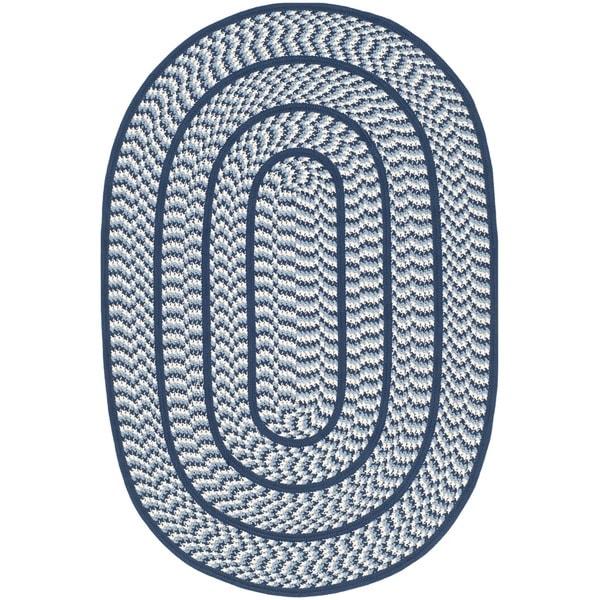 Shop Safavieh Hand-woven Reversible Braided Ivory/ Navy
